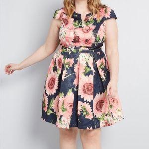📢🎁 Modcloth | Navy Blue Floral Jacquard Dress